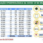 Covid-19: Brasil tem 171 mil mortes e 6,2 milhões de casos acumulados